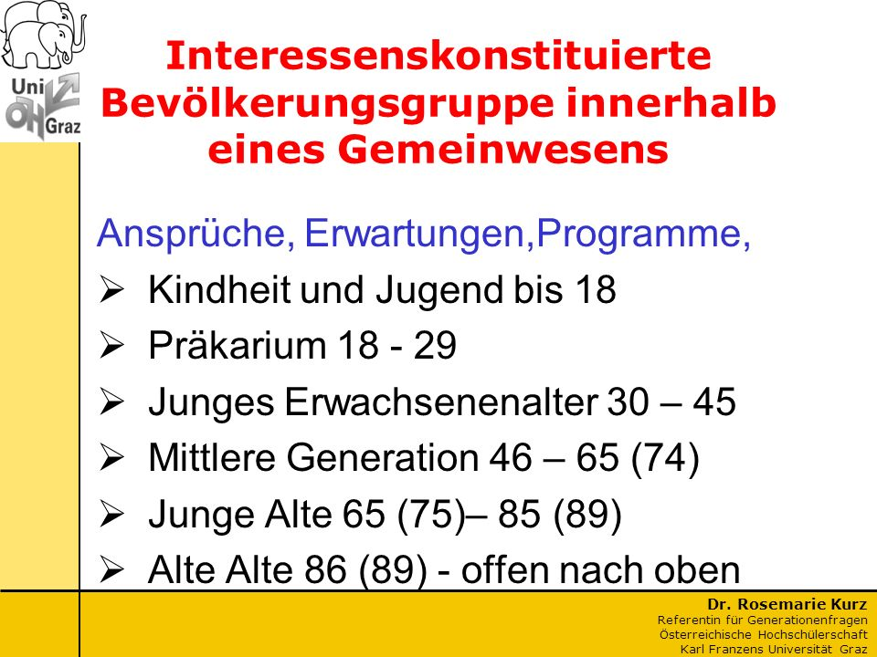 Dr. Rosemarie Kurz Referentin für Generationenfragen Österreichische Hochschülerschaft Karl Franzens Universität Graz Interessenskonstituierte Bevölke
