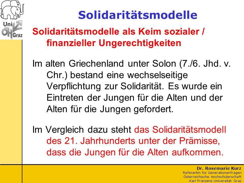 Dr. Rosemarie Kurz Referentin für Generationenfragen Österreichische Hochschülerschaft Karl Franzens Universität Graz Solidaritätsmodelle Solidaritäts
