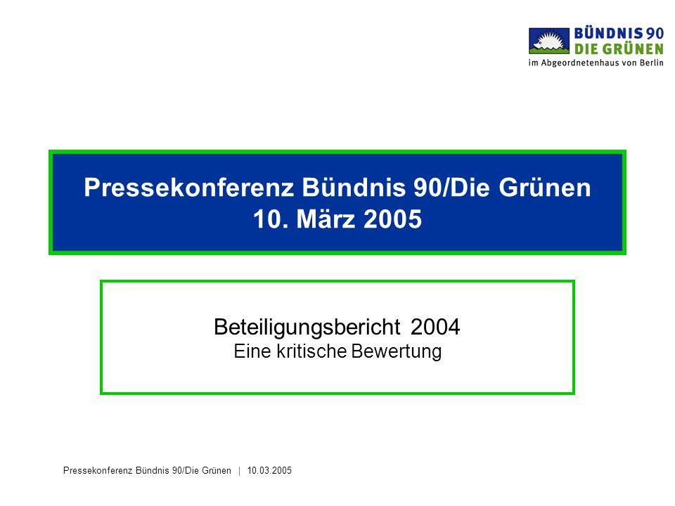Pressekonferenz Bündnis 90/Die Grünen 10.03.2005 Pressekonferenz Bündnis 90/Die Grünen 10. März 2005 Beteiligungsbericht 2004 Eine kritische Bewertung