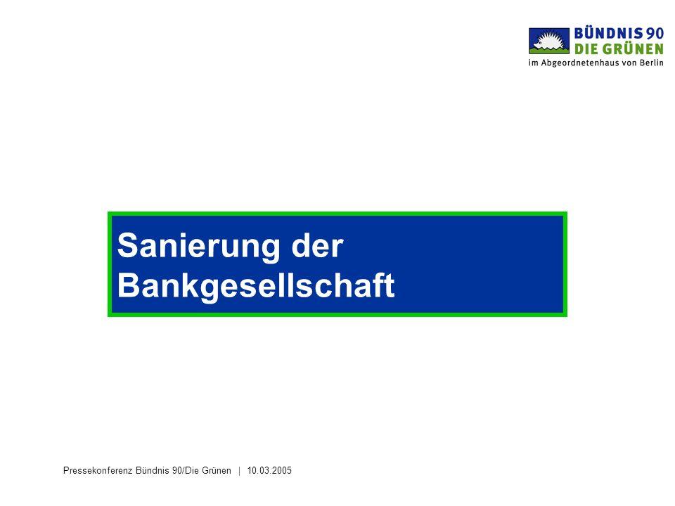 Pressekonferenz Bündnis 90/Die Grünen 10.03.2005 Sanierung der Bankgesellschaft