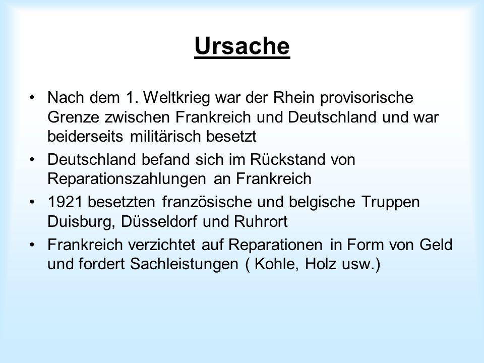 Ursache Nach dem 1. Weltkrieg war der Rhein provisorische Grenze zwischen Frankreich und Deutschland und war beiderseits militärisch besetzt Deutschla