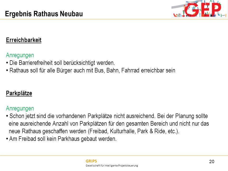GRiPS Gesellschaft für intelligente Projektsteuerung Ergebnis Rathaus Neubau 20 Erreichbarkeit Anregungen Die Barrierefreiheit soll berücksichtigt wer