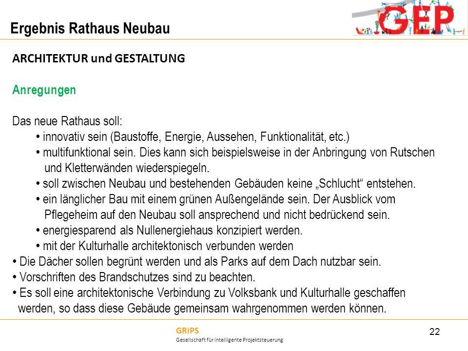GRiPS Gesellschaft für intelligente Projektsteuerung Ergebnis Rathaus Neubau 22 ARCHITEKTUR und GESTALTUNG Anregungen Das neue Rathaus soll: innovativ