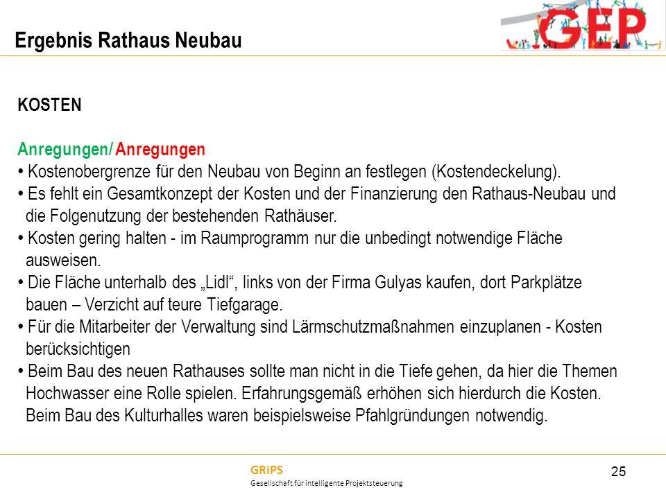 GRiPS Gesellschaft für intelligente Projektsteuerung Ergebnis Rathaus Neubau 25 KOSTEN Anregungen/ Anregungen Kostenobergrenze für den Neubau von Begi