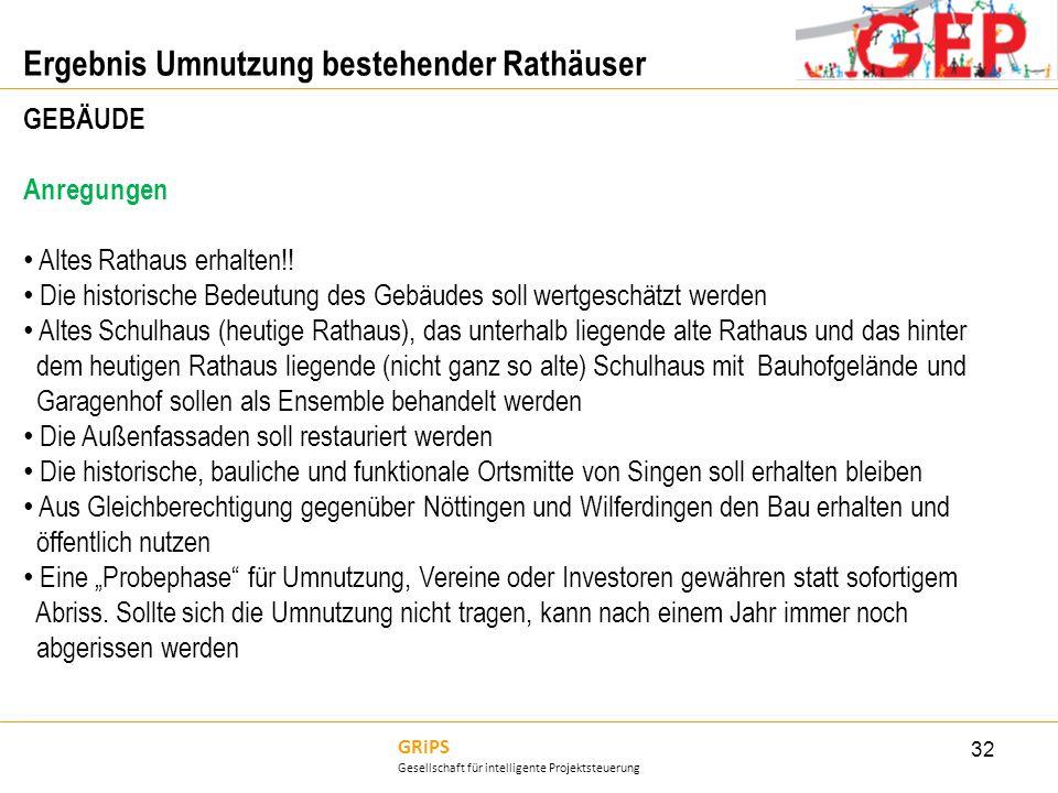 GRiPS Gesellschaft für intelligente Projektsteuerung Ergebnis Umnutzung bestehender Rathäuser 32 GEBÄUDE Anregungen Altes Rathaus erhalten!! Die histo