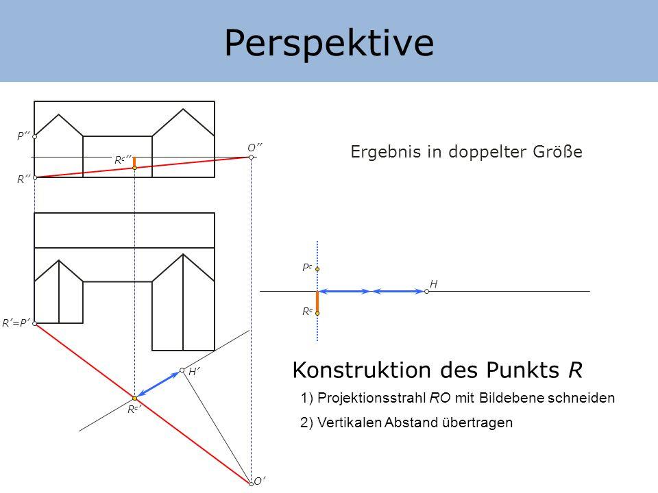 Perspektive H H Ergebnis in doppelter Größe Konstruktion des Punkts R 1) Projektionsstrahl RO mit Bildebene schneiden P P O O 2) Vertikalen Abstand üb