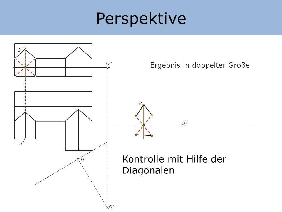 Perspektive H H O O Ergebnis in doppelter Größe Punkte in der Bildebene 2) Horizontalen Abstand übertragen 3) Vertikale Abstände übertragen 4 5 4=5 5c5c 4c4c