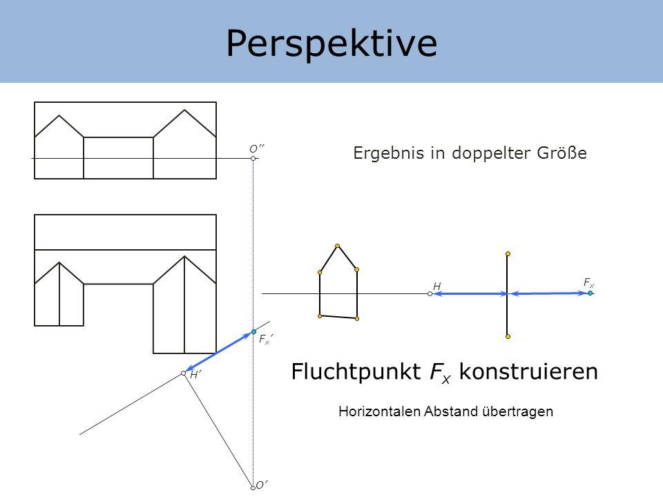 Perspektive H H O O Ergebnis in doppelter Größe Konstruieren mit Fluchtpunkten F x FxFx 1) Projektionsstrahl 6O mit Bildebene schneiden 2) Horizontalen Abstand übertragen 3) Fluchtpunkt verwenden 6 7 6=7 6 c 6c6c 7c7c