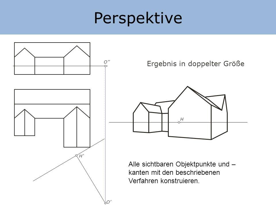 Perspektive H H O O Ergebnis in doppelter Größe Alle sichtbaren Objektpunkte und – kanten mit den beschriebenen Verfahren konstruieren.