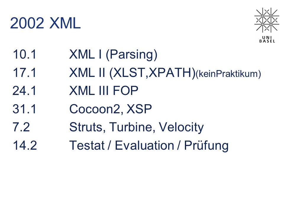 2002 XML 10.1XML I (Parsing) 17.1XML II (XLST,XPATH) (keinPraktikum) 24.1XML III FOP 31.1Cocoon2, XSP 7.2Struts, Turbine, Velocity 14.2Testat / Evaluation / Prüfung