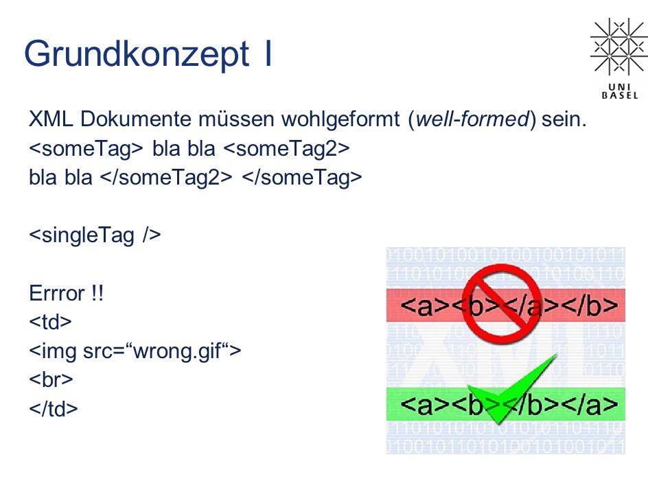 Grundkonzept I XML Dokumente müssen wohlgeformt (well-formed) sein. bla bla Errror !!