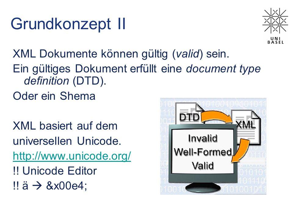 Grundkonzept II XML Dokumente können gültig (valid) sein.