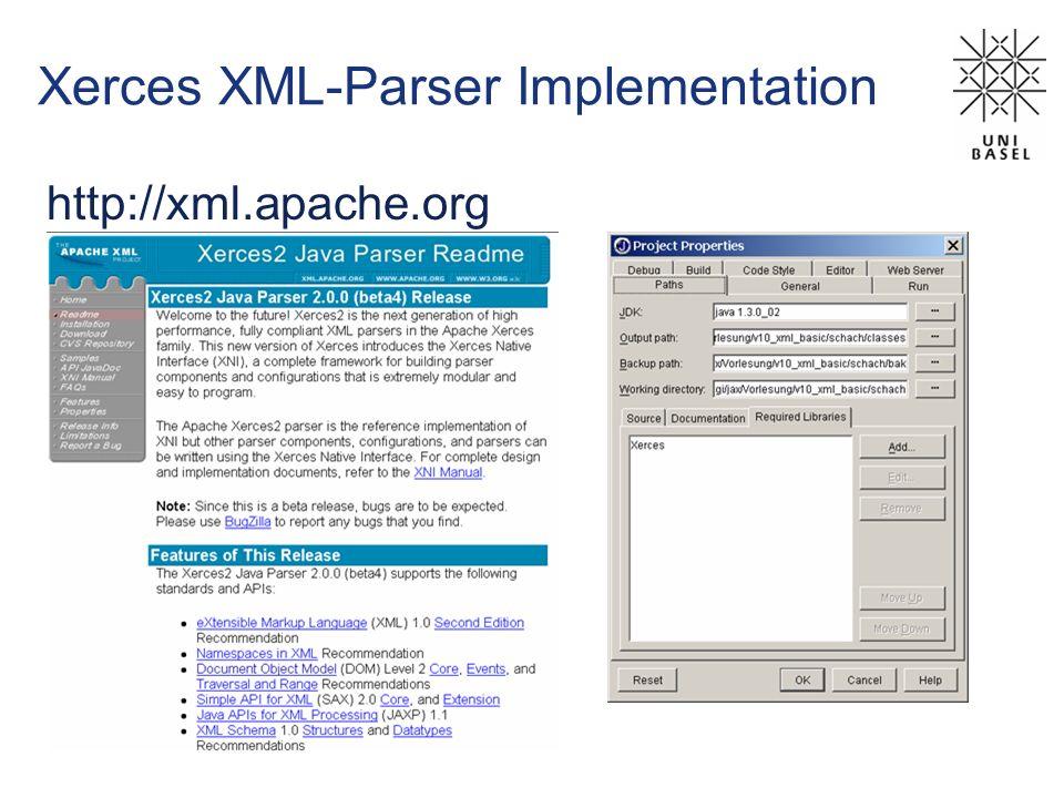 Xerces XML-Parser Implementation http://xml.apache.org