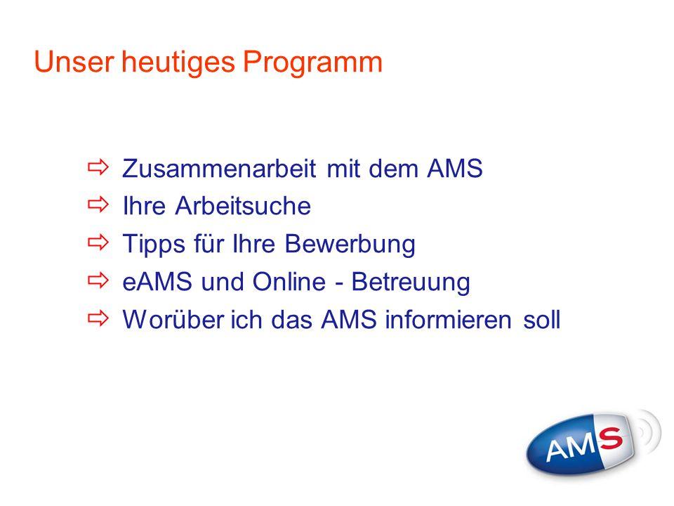 Unser heutiges Programm Zusammenarbeit mit dem AMS Ihre Arbeitsuche Tipps für Ihre Bewerbung eAMS und Online - Betreuung Worüber ich das AMS informier