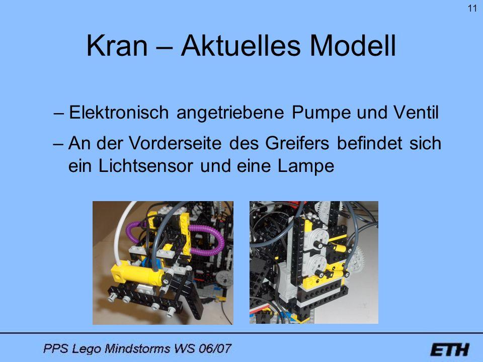 11 Kran – Aktuelles Modell –Elektronisch angetriebene Pumpe und Ventil –An der Vorderseite des Greifers befindet sich ein Lichtsensor und eine Lampe