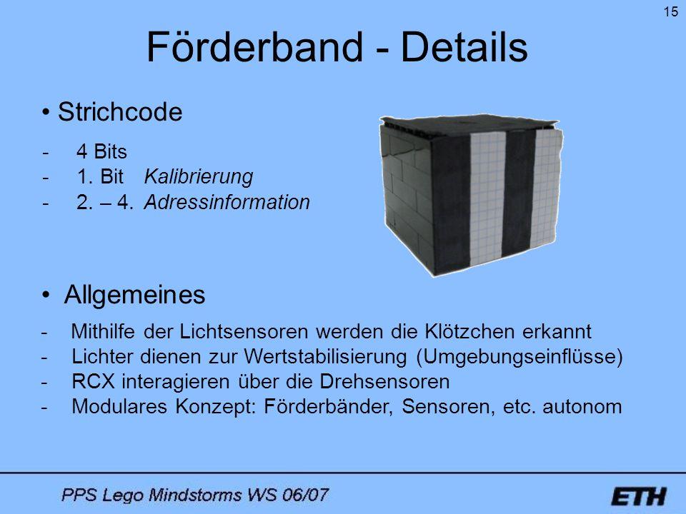15 Förderband - Details - Mithilfe der Lichtsensoren werden die Klötzchen erkannt - Lichter dienen zur Wertstabilisierung (Umgebungseinflüsse) - RCX i
