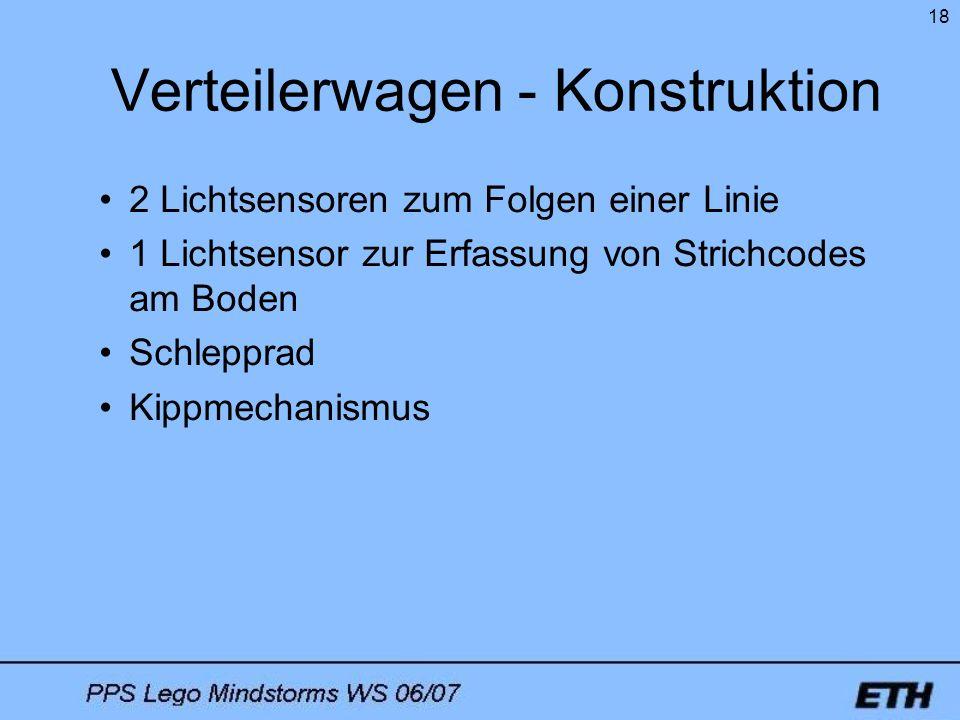 18 Verteilerwagen - Konstruktion 2 Lichtsensoren zum Folgen einer Linie 1 Lichtsensor zur Erfassung von Strichcodes am Boden Schlepprad Kippmechanismu
