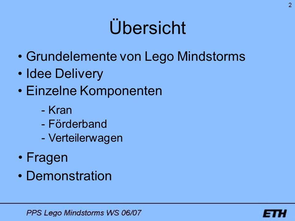 2 Übersicht Grundelemente von Lego Mindstorms Fragen Demonstration Einzelne Komponenten - Kran - Förderband - Verteilerwagen Idee Delivery