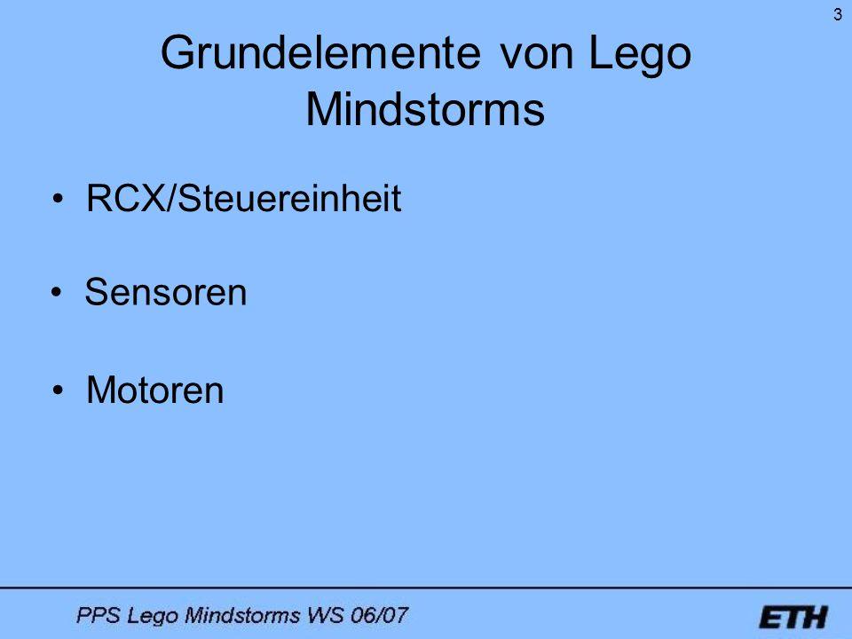 3 Grundelemente von Lego Mindstorms Sensoren Motoren RCX/Steuereinheit