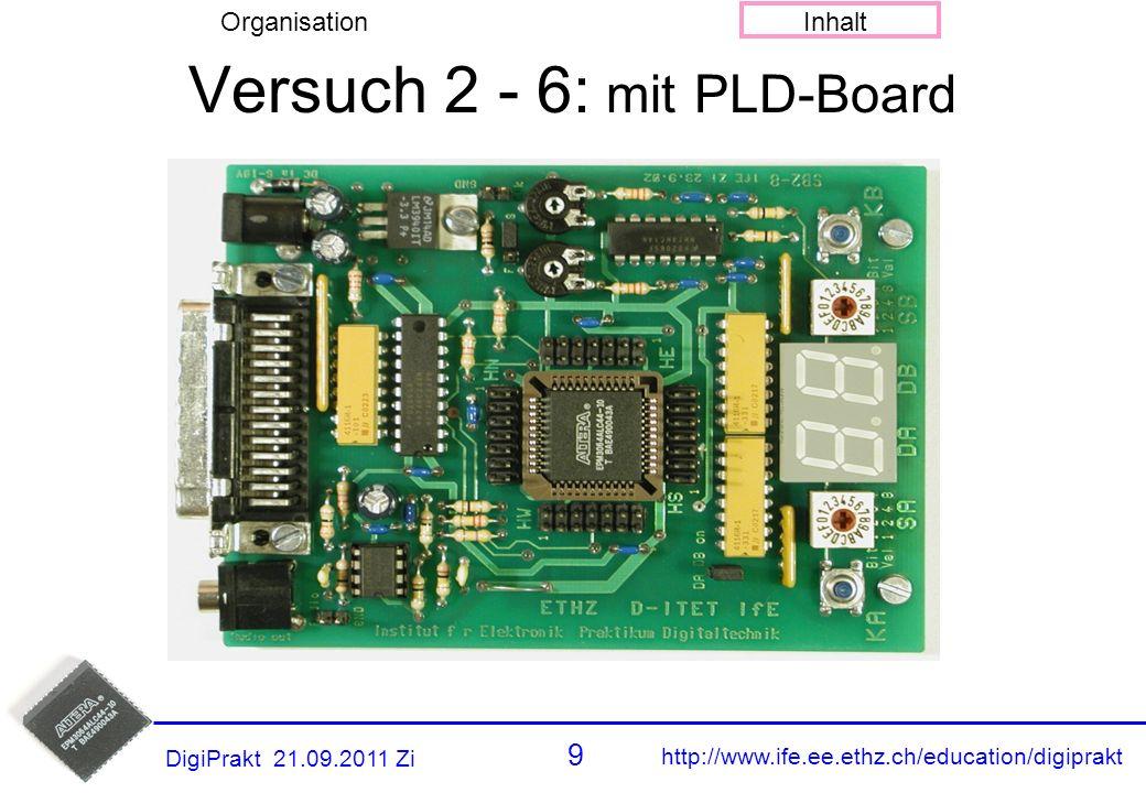 http://www.ife.ee.ethz.ch/education/digiprakt 9 OrganisationInhalt DigiPrakt 21.09.2011 Zi Versuch 2 - 6: mit PLD-Board