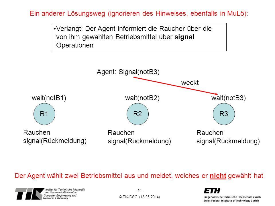 - 10 - © TIK/CSG (18.05.2014) Der Agent wählt zwei Betriebsmittel aus und meldet, welches er nicht gewählt hat Ein anderer Lösungsweg (ignorieren des Hinweises, ebenfalls in MuLö): Verlangt: Der Agent informiert die Raucher über die von ihm gewählten Betriebsmittel über signal Operationen R3R2R1 Agent: Signal(notB3) wait(notB1)wait(notB2)wait(notB3) weckt Rauchen signal(Rückmeldung) Rauchen signal(Rückmeldung) Rauchen signal(Rückmeldung)