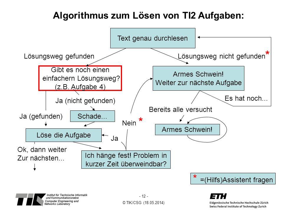 - 12 - © TIK/CSG (18.05.2014) Algorithmus zum Lösen von TI2 Aufgaben: Text genau durchlesen Löse die Aufgabe Armes Schwein.