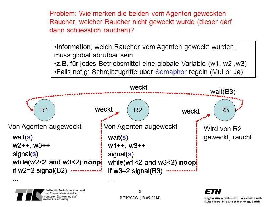 - 9 - © TIK/CSG (18.05.2014) Problem: Wie merken die beiden vom Agenten geweckten Raucher, welcher Raucher nicht geweckt wurde (dieser darf dann schliesslich rauchen).