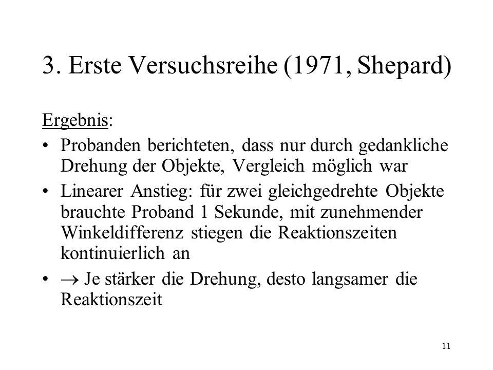 11 3. Erste Versuchsreihe (1971, Shepard) Ergebnis: Probanden berichteten, dass nur durch gedankliche Drehung der Objekte, Vergleich möglich war Linea