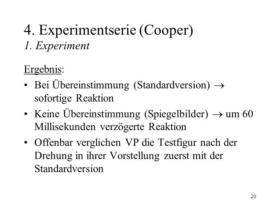 20 4. Experimentserie (Cooper) 1. Experiment Ergebnis: Bei Übereinstimmung (Standardversion) sofortige Reaktion Keine Übereinstimmung (Spiegelbilder)