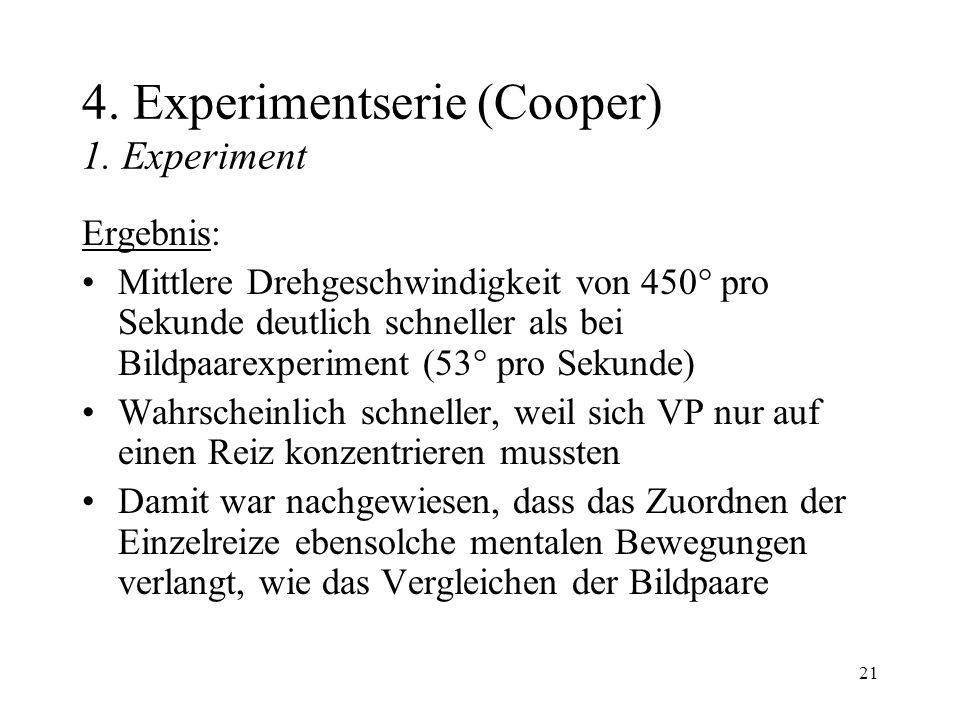 21 4. Experimentserie (Cooper) 1. Experiment Ergebnis: Mittlere Drehgeschwindigkeit von 450 pro Sekunde deutlich schneller als bei Bildpaarexperiment