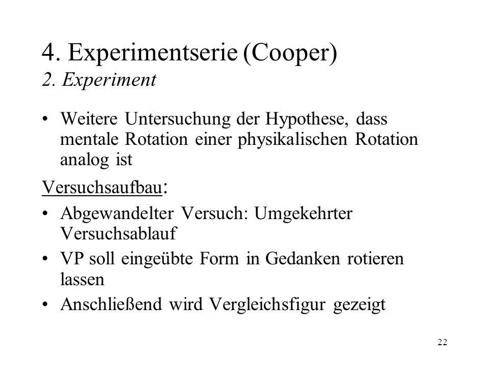 22 4. Experimentserie (Cooper) 2. Experiment Weitere Untersuchung der Hypothese, dass mentale Rotation einer physikalischen Rotation analog ist Versuc