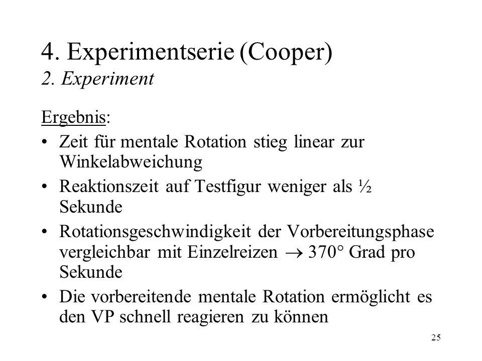 25 4. Experimentserie (Cooper) 2. Experiment Ergebnis: Zeit für mentale Rotation stieg linear zur Winkelabweichung Reaktionszeit auf Testfigur weniger