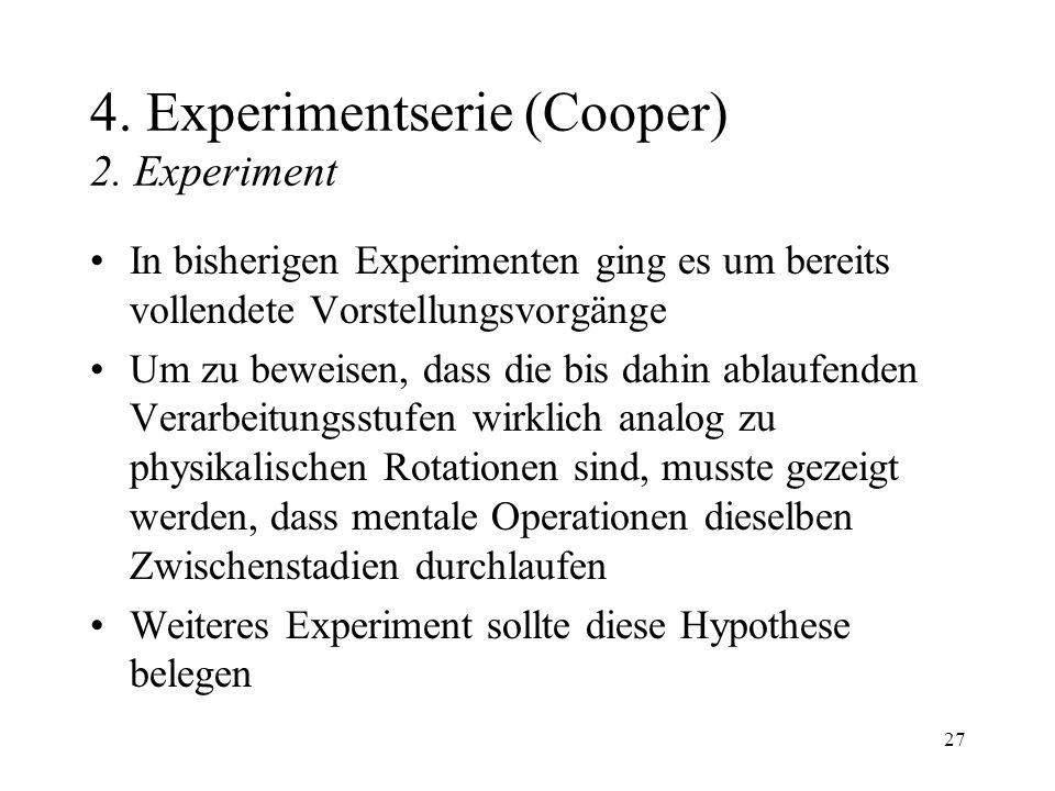 27 4. Experimentserie (Cooper) 2. Experiment In bisherigen Experimenten ging es um bereits vollendete Vorstellungsvorgänge Um zu beweisen, dass die bi