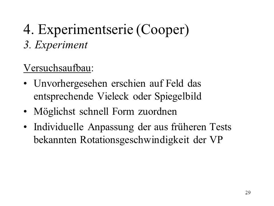 29 4. Experimentserie (Cooper) 3. Experiment Versuchsaufbau: Unvorhergesehen erschien auf Feld das entsprechende Vieleck oder Spiegelbild Möglichst sc