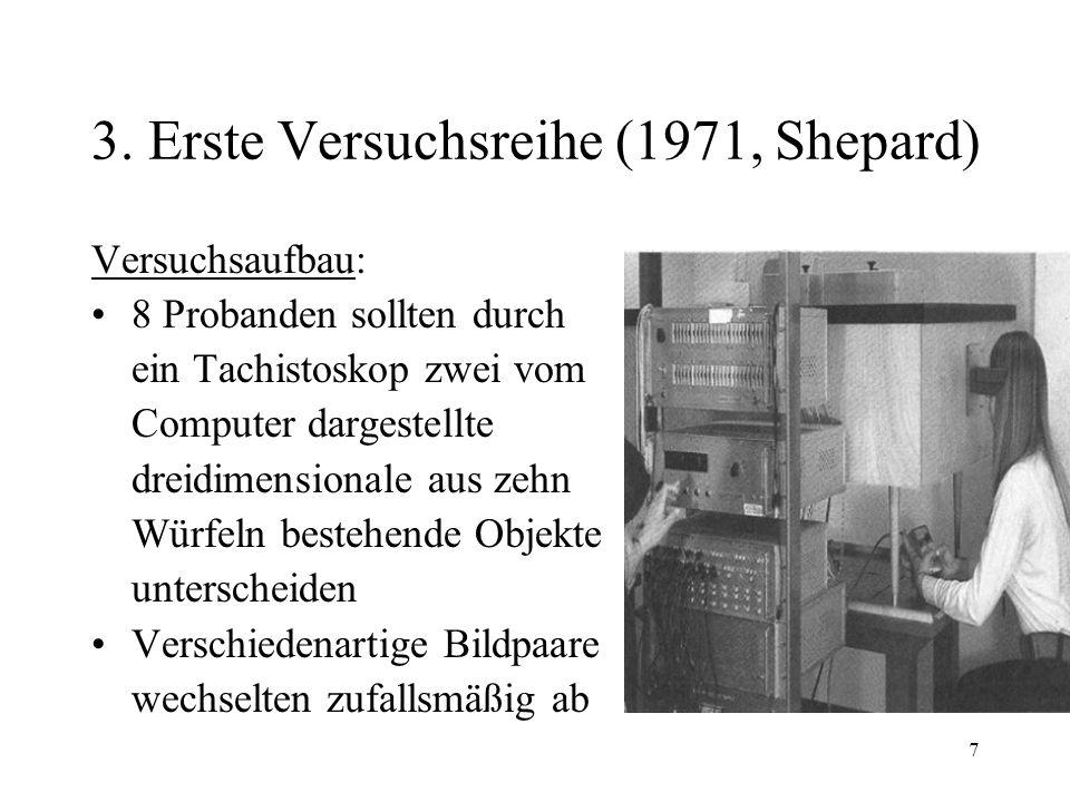 7 3. Erste Versuchsreihe (1971, Shepard) Versuchsaufbau: 8 Probanden sollten durch ein Tachistoskop zwei vom Computer dargestellte dreidimensionale au