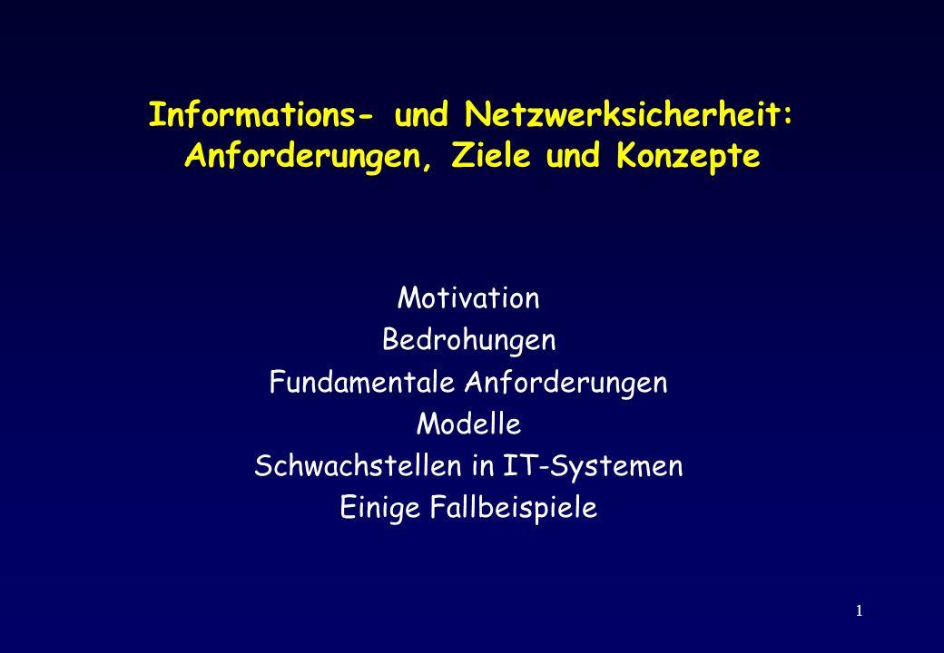 1 Informations- und Netzwerksicherheit: Anforderungen, Ziele und Konzepte Motivation Bedrohungen Fundamentale Anforderungen Modelle Schwachstellen in
