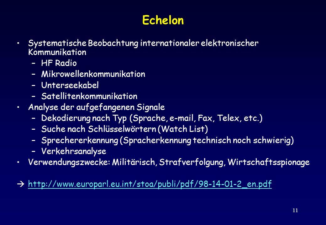 11 Echelon Systematische Beobachtung internationaler elektronischer Kommunikation –HF Radio –Mikrowellenkommunikation –Unterseekabel –Satellitenkommun