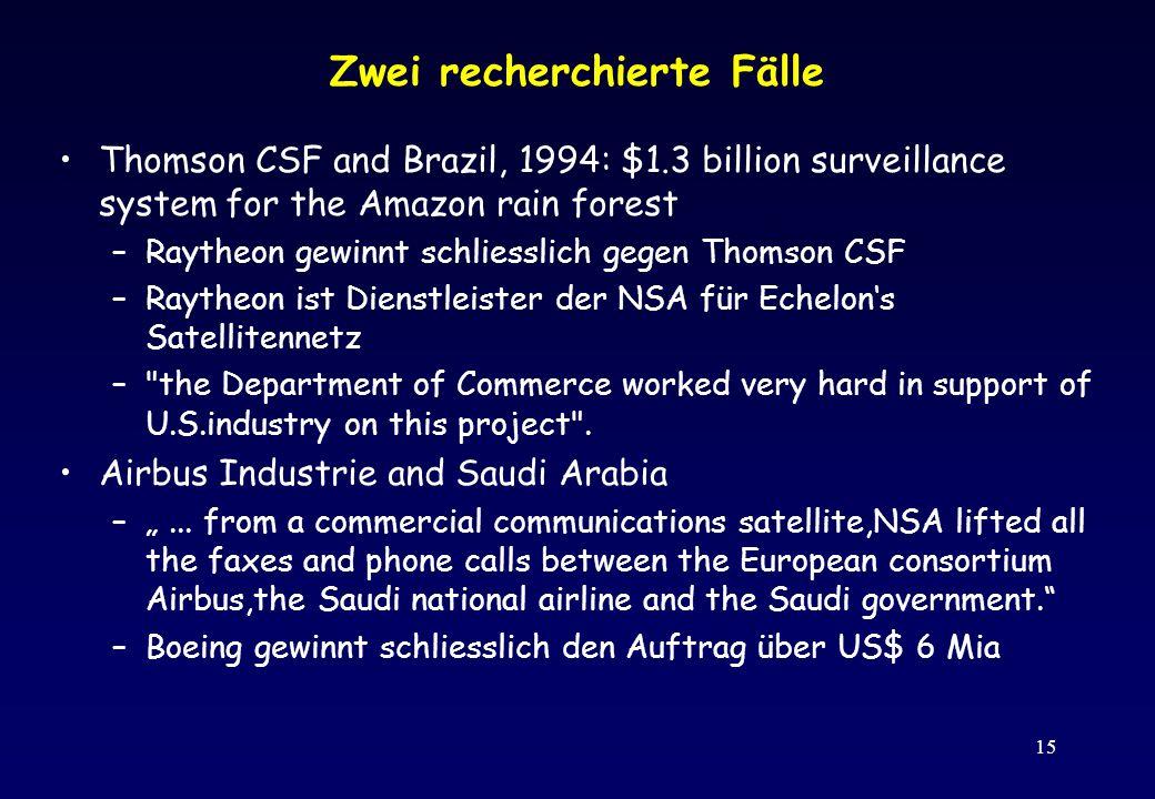 15 Zwei recherchierte Fälle Thomson CSF and Brazil, 1994: $1.3 billion surveillance system for the Amazon rain forest –Raytheon gewinnt schliesslich g