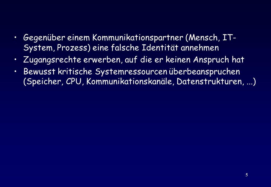 16 Distributed Denial of Service Attack (DDoS) Mehrstufige Attacke –Angriff auf einige 10 schwach geschützte Rechner –Installation von DDos Software auf diesen Rechnern –Konzertierte Denial of Service Attacke (TCP SYN, ICMP oder UDP Flooding) auf eigentliche Zielsysteme Beispiele: –ETH Zürich, Univ.