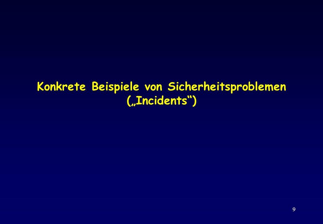 9 Konkrete Beispiele von Sicherheitsproblemen (Incidents)