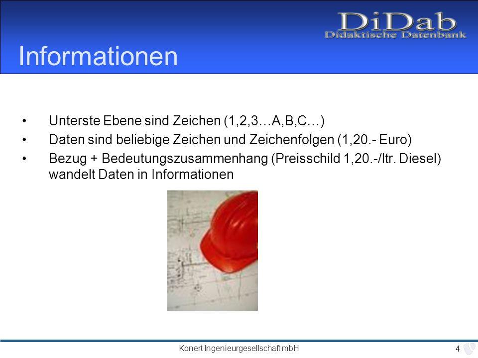 Konert Ingenieurgesellschaft mbH 4 Informationen Unterste Ebene sind Zeichen (1,2,3…A,B,C…) Daten sind beliebige Zeichen und Zeichenfolgen (1,20.- Euro) Bezug + Bedeutungszusammenhang (Preisschild 1,20.-/ltr.