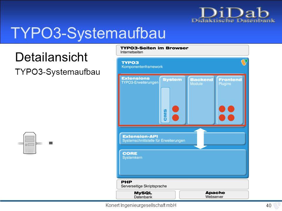 Konert Ingenieurgesellschaft mbH 40 TYPO3-Systemaufbau Detailansicht TYPO3-Systemaufbau =