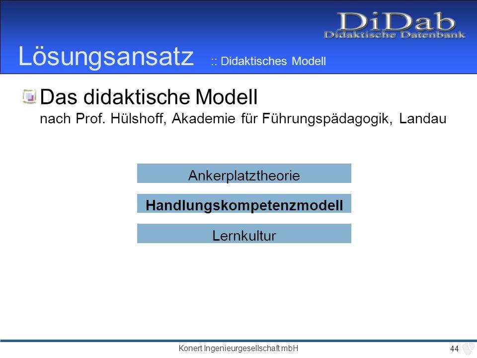 Konert Ingenieurgesellschaft mbH 44 Lösungsansatz :: Didaktisches Modell Das didaktische Modell nach Prof.