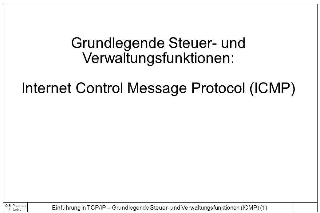 Einführung in TCP/IP – Grundlegende Steuer- und Verwaltungsfunktionen (ICMP) (1) © B. Plattner / H. Lubich Grundlegende Steuer- und Verwaltungsfunktio