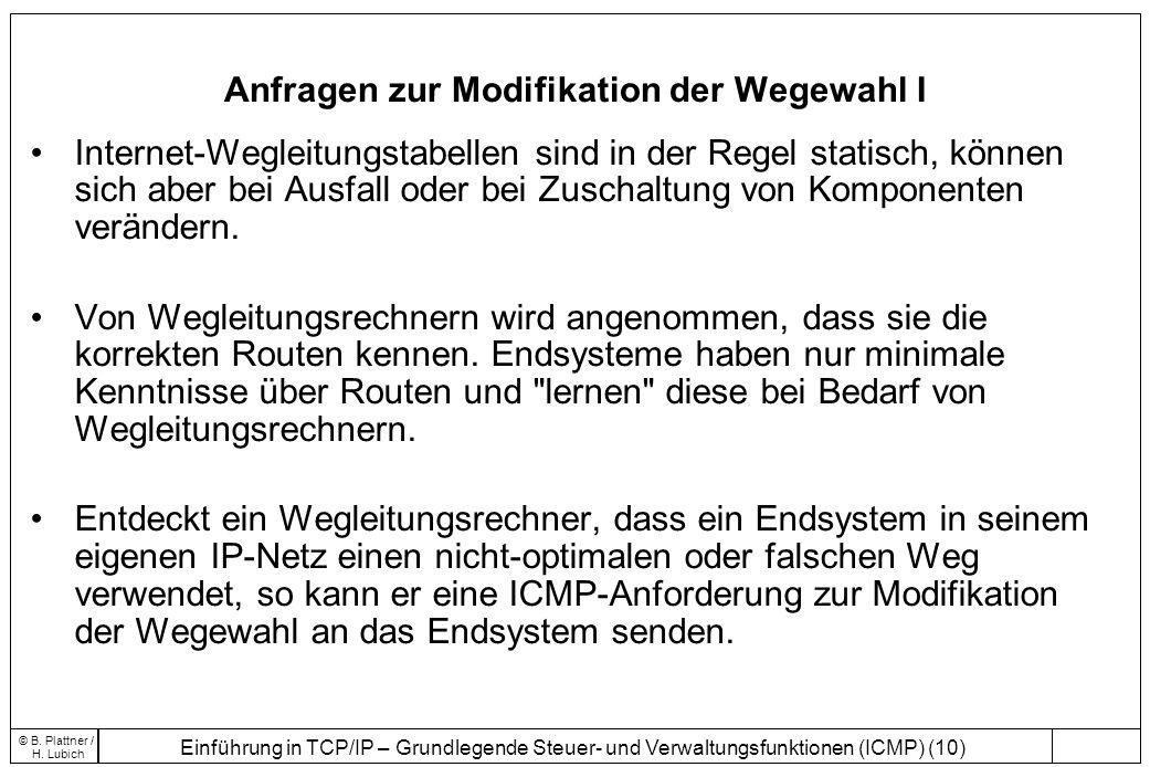 Einführung in TCP/IP – Grundlegende Steuer- und Verwaltungsfunktionen (ICMP) (10) © B. Plattner / H. Lubich Anfragen zur Modifikation der Wegewahl I I