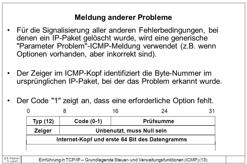 Einführung in TCP/IP – Grundlegende Steuer- und Verwaltungsfunktionen (ICMP) (13) © B. Plattner / H. Lubich Meldung anderer Probleme 0 8 16 24 31 Typ