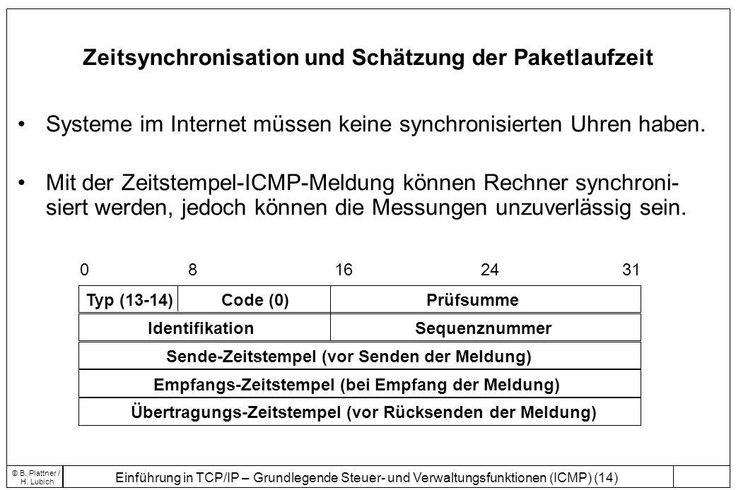 Einführung in TCP/IP – Grundlegende Steuer- und Verwaltungsfunktionen (ICMP) (14) © B. Plattner / H. Lubich Zeitsynchronisation und Schätzung der Pake