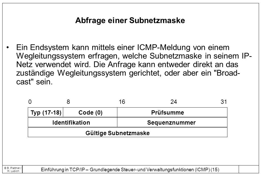 Einführung in TCP/IP – Grundlegende Steuer- und Verwaltungsfunktionen (ICMP) (15) © B. Plattner / H. Lubich Abfrage einer Subnetzmaske Ein Endsystem k