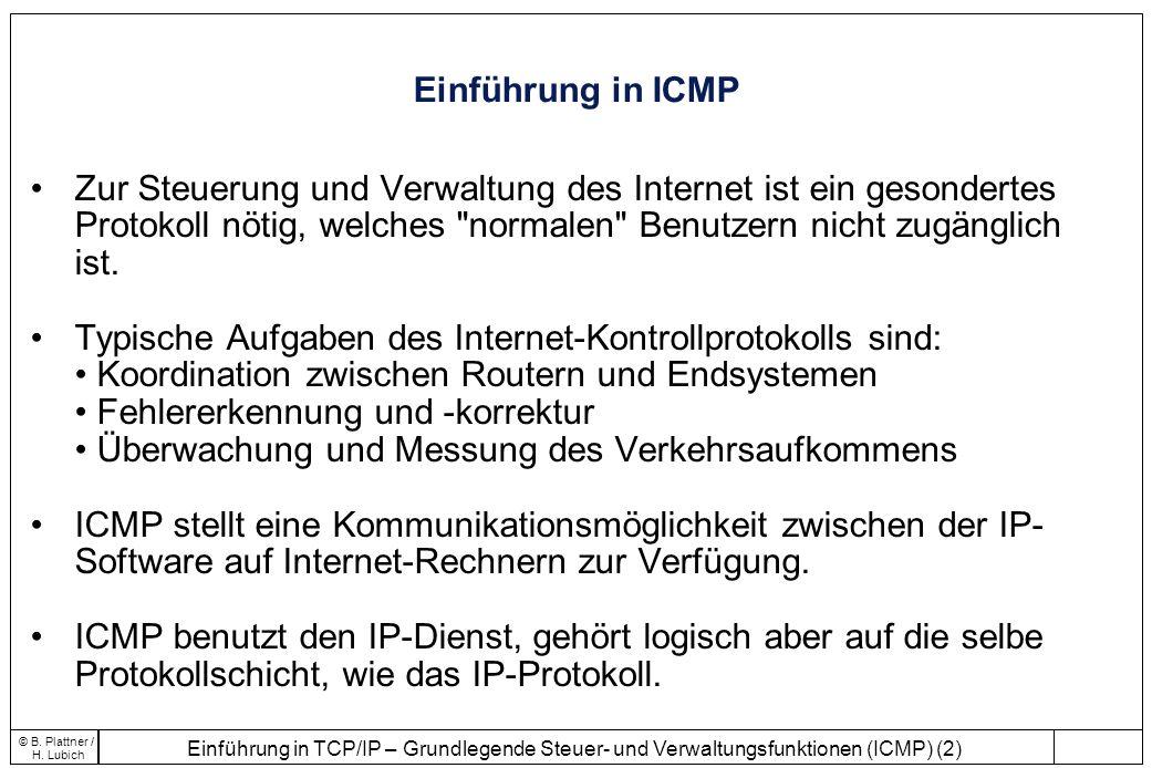 Einführung in TCP/IP – Grundlegende Steuer- und Verwaltungsfunktionen (ICMP) (2) © B. Plattner / H. Lubich Einführung in ICMP Zur Steuerung und Verwal
