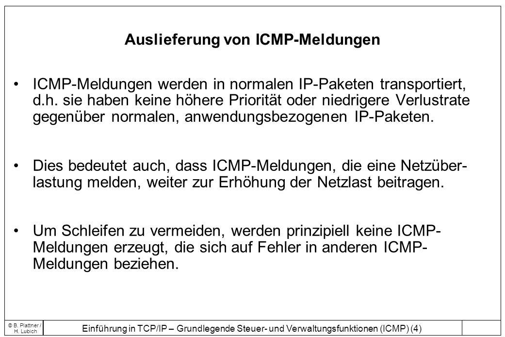 Einführung in TCP/IP – Grundlegende Steuer- und Verwaltungsfunktionen (ICMP) (4) © B. Plattner / H. Lubich Auslieferung von ICMP-Meldungen ICMP-Meldun